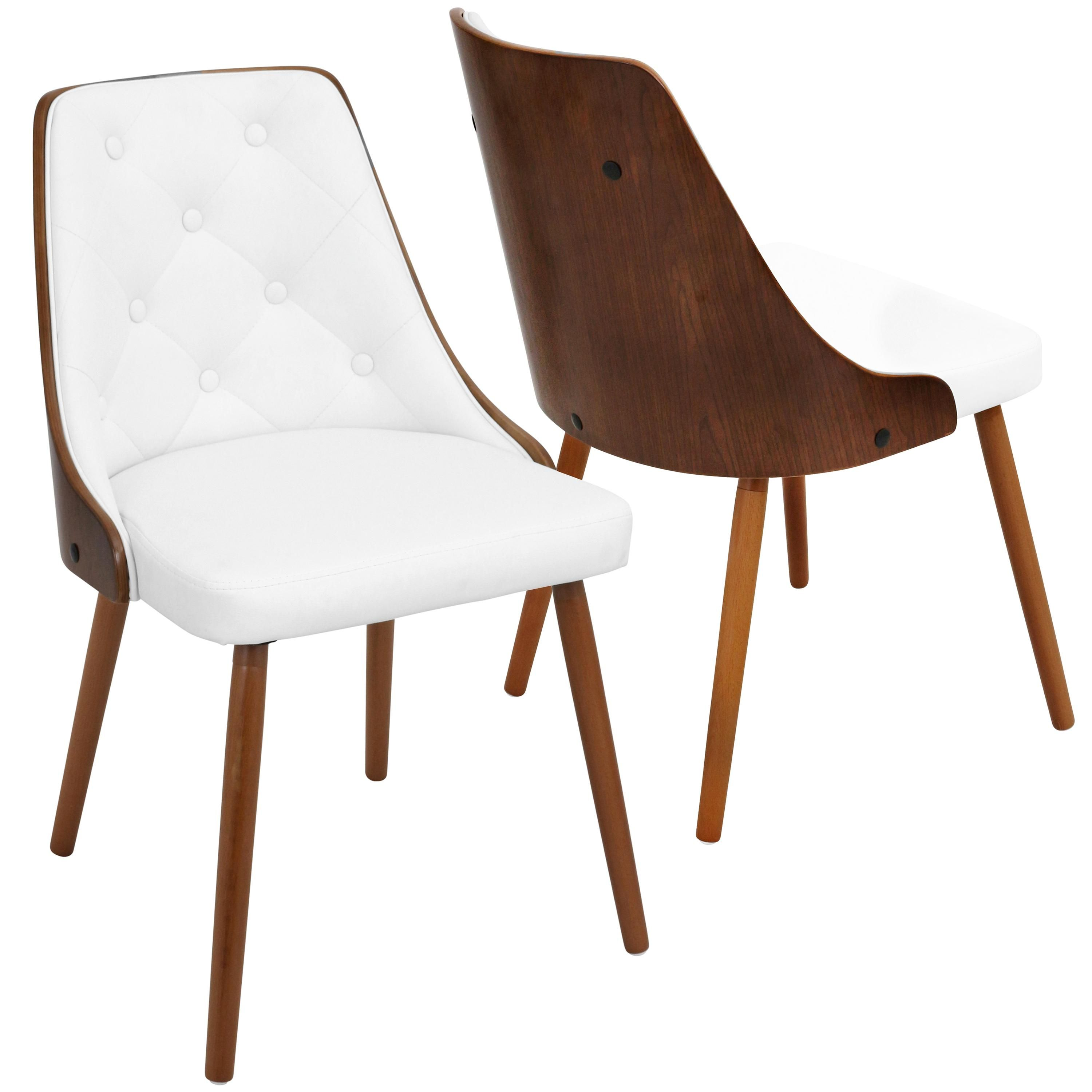 Mid Century White And Brown Faux Leather Dining Room Chair Gianna In 2020 Leather Dining Room Chairs Modern Dining Chairs Dining Chairs