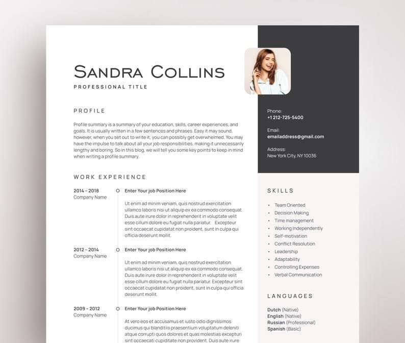 Professional Cv Template With Photo Resume Template For Word Etsy Microsoft Word Resume Template Cv Template Cv Template Professional