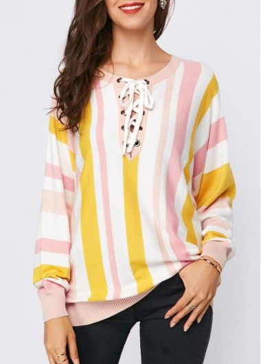 Trendy Long Sleeve Striped Lace Up Front Sweater  f24d9146c