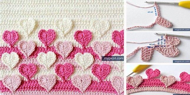Kalp motifli bebek battaniyesi yapılışı