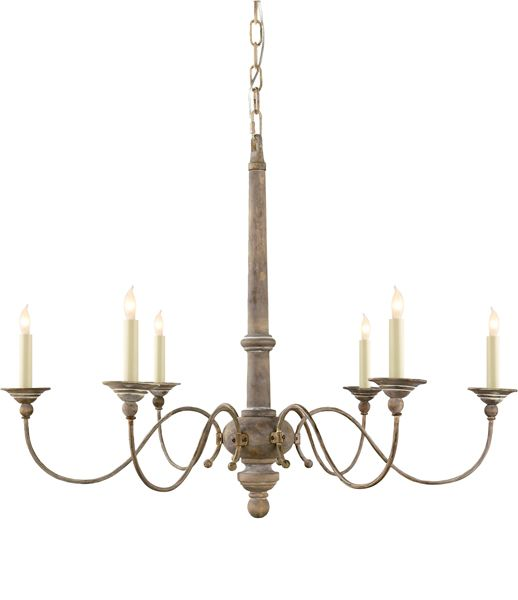 Small Country Chandelier Over Island Either At Dining