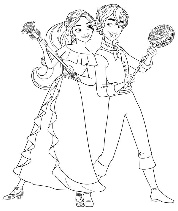 Elena And Mateo Lines Elena Of Avalor Disney Coloring Pages