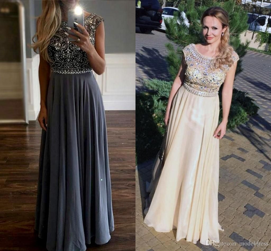 2016 New Stunning Crystal Evening Dresses Bateau Major Beading A Line Floor Length Champagne Gray Prom Party Special Occasion Gowns Vestidos Dresses Shop Evening Dress Singapore From Modeldress, $125.06| Dhgate.Com