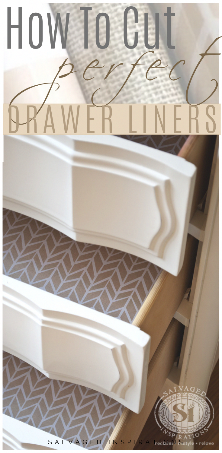 How To Cut Perfect Drawer Liners | No Measure Drawer Liners | Salvaged Inspirations #DIY #salvagedinspirations #Drawerliners #easycutdrawerliners #beautifuldrawer #easyhomedecor