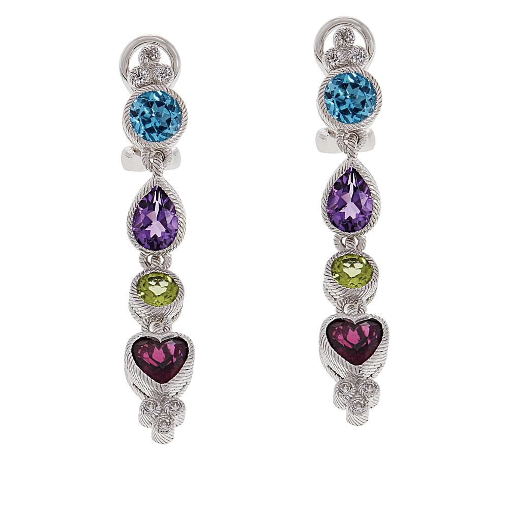 Judith Ripka Sterling Silver Multi Gemstone Linear Drop Earrings