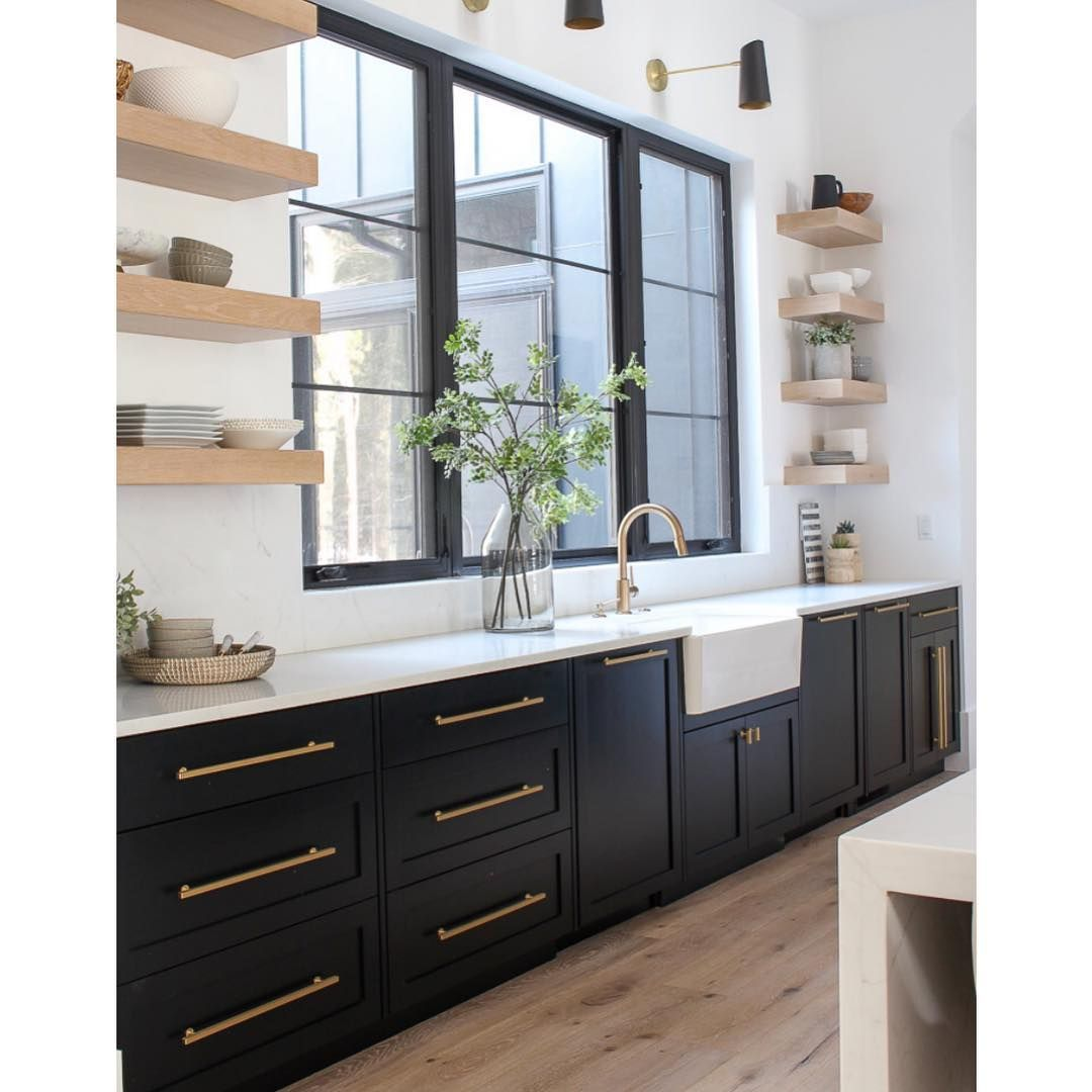 T O N I E L M E R On Instagram Black Windows Floating Shelves All The Good Things I M Excited For Home Decor Kitchen Kitchen Interior Kitchen Design