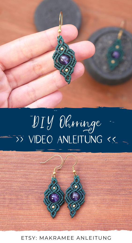Photo of Macrame earrings – INSTRUCTIONS (video in German) / Macrame jewelry making yourself / Macrame instructions
