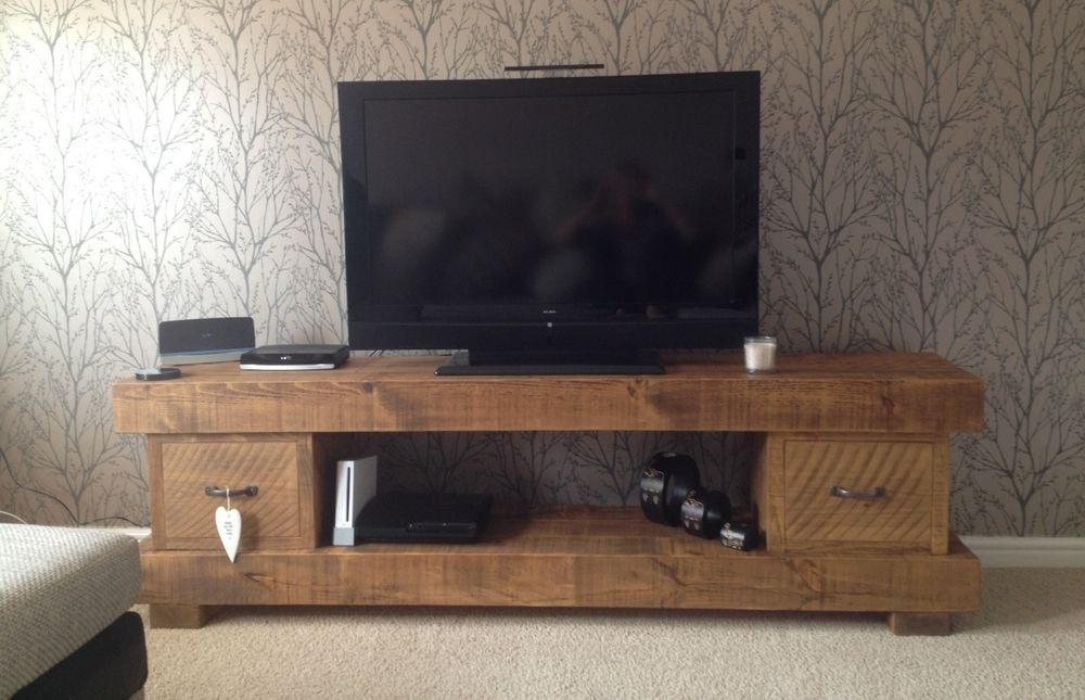Super Chunky Solid Wood Tv Unit Cabinet Stand Rustic Plank Beam
