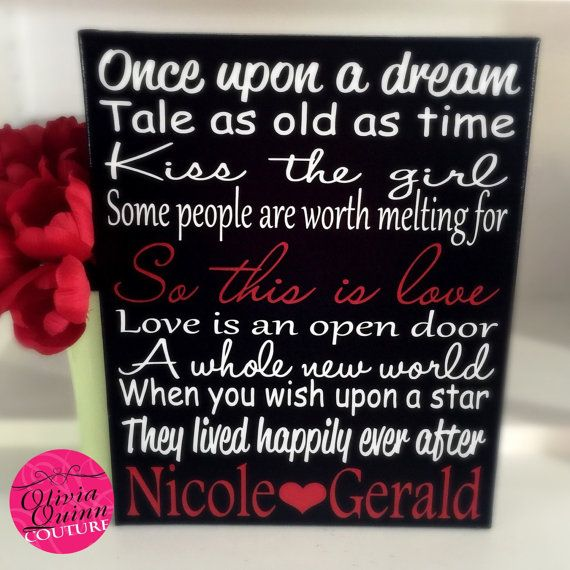 Disney Song Love Story Quote Prince Princess By OliviaQuinnCouture