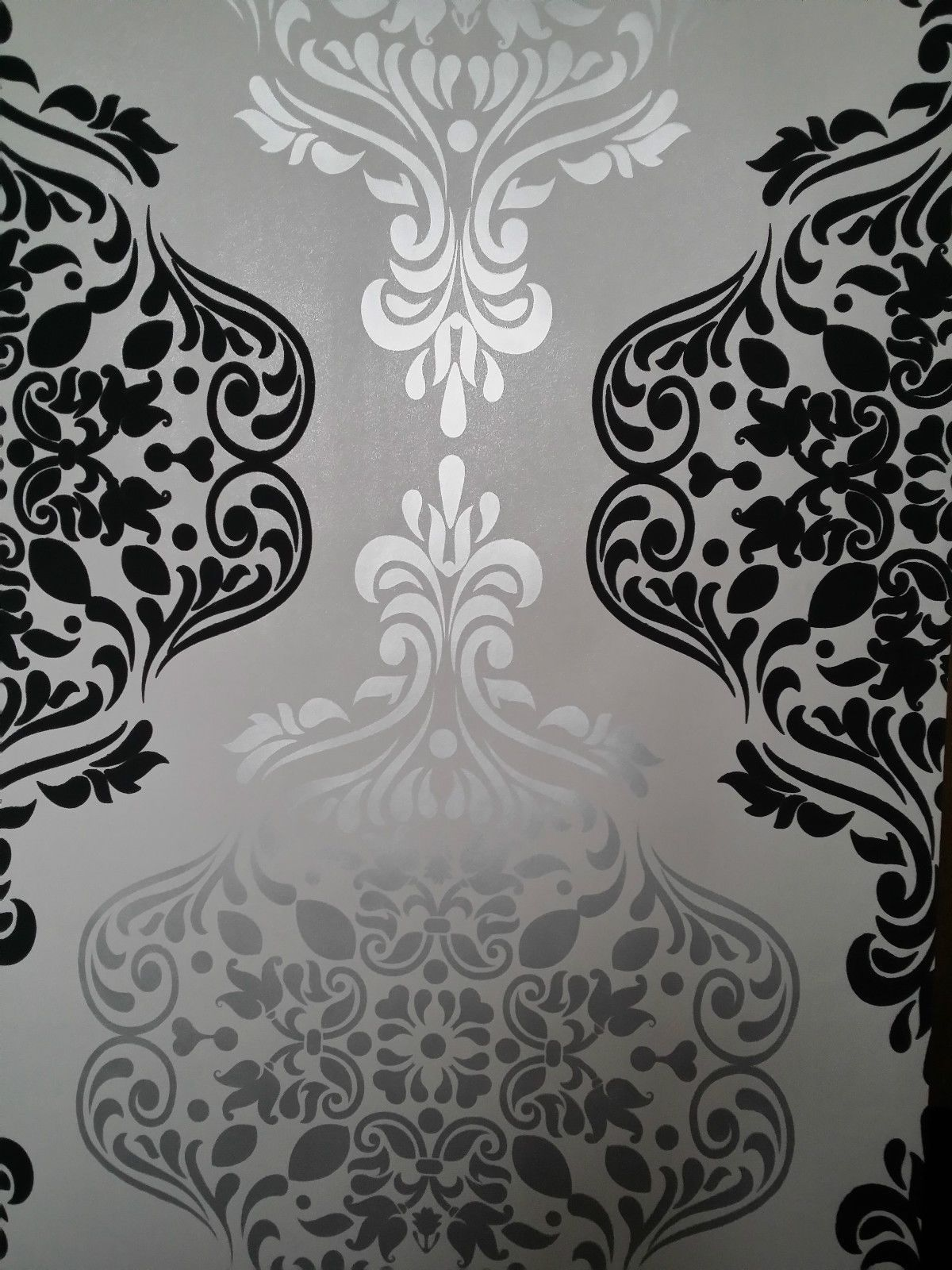 Luxury Quality Wallpaper BLack And Silver/Grey Damask Feature Wall Designer  | EBay