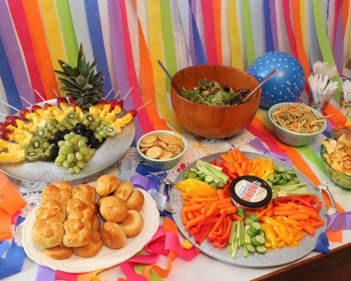 Rainbow First Birthday Party Healthy Birthday Party Snacks Birthday Party Snacks