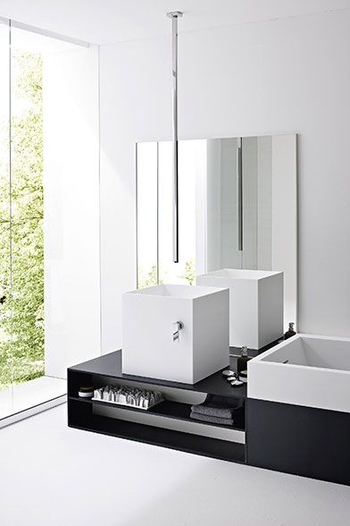 BATHROOM | Modern bathroom via Rexa Design. Love the ceiling mounted ...