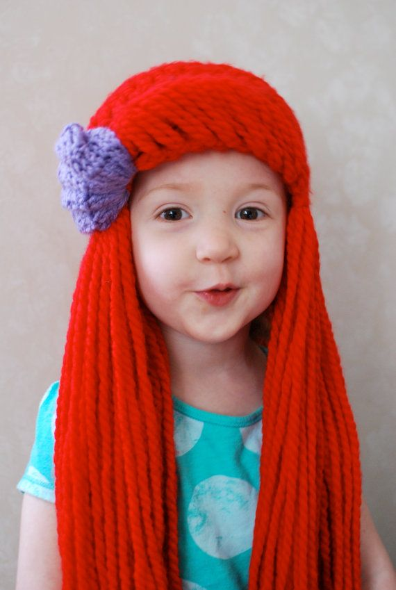 Little Mermaid Ariel Yarn Hair Wig | Hair wig | Pinterest ...