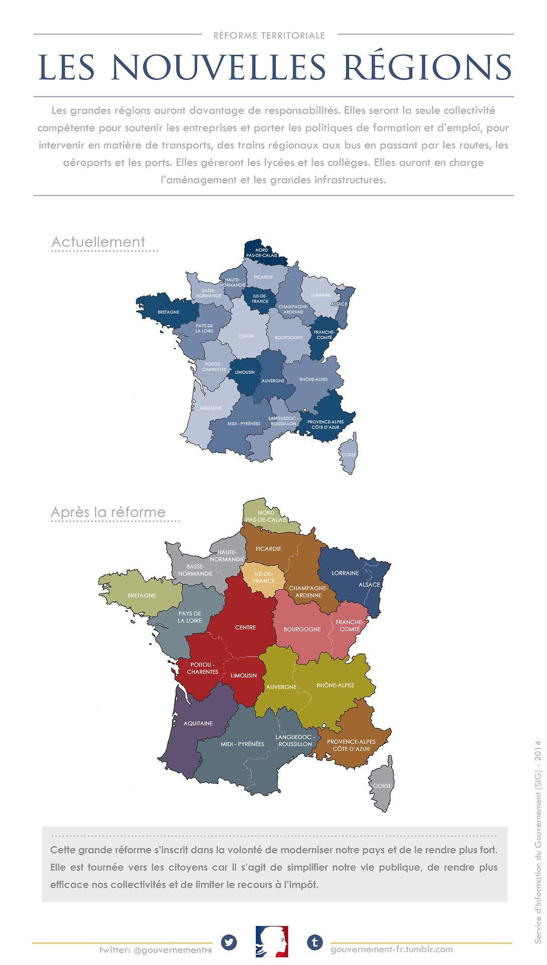 nouvelle carte des regions La nouvelle carte des régions de la France métropolitaine