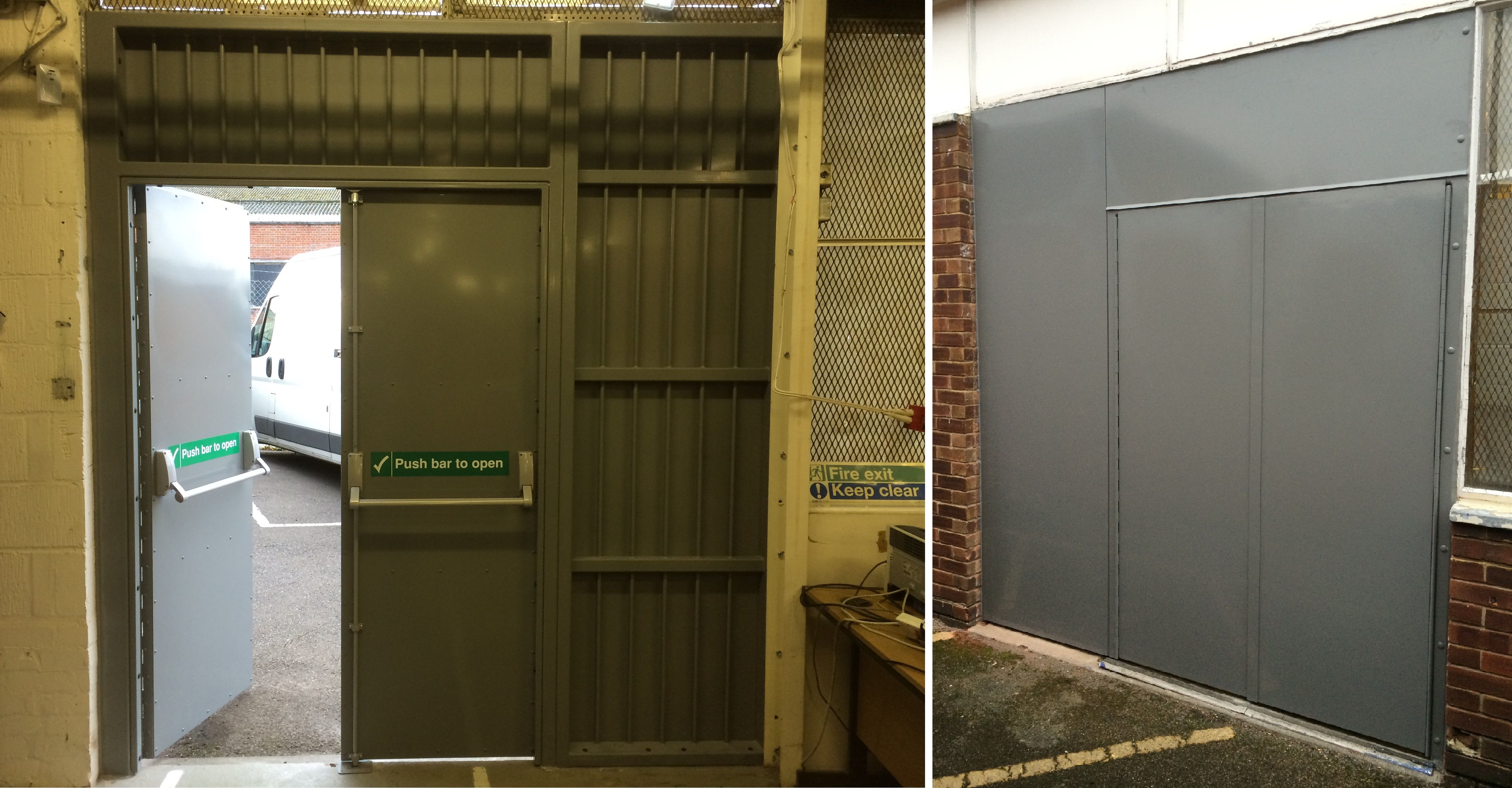 double fire exit security doors heavy duty fabricated construction with piano hinges emergency panic bars and top/side panels with welded round bars on ... & RSG8100 double fire exit security doors heavy duty fabricated ...