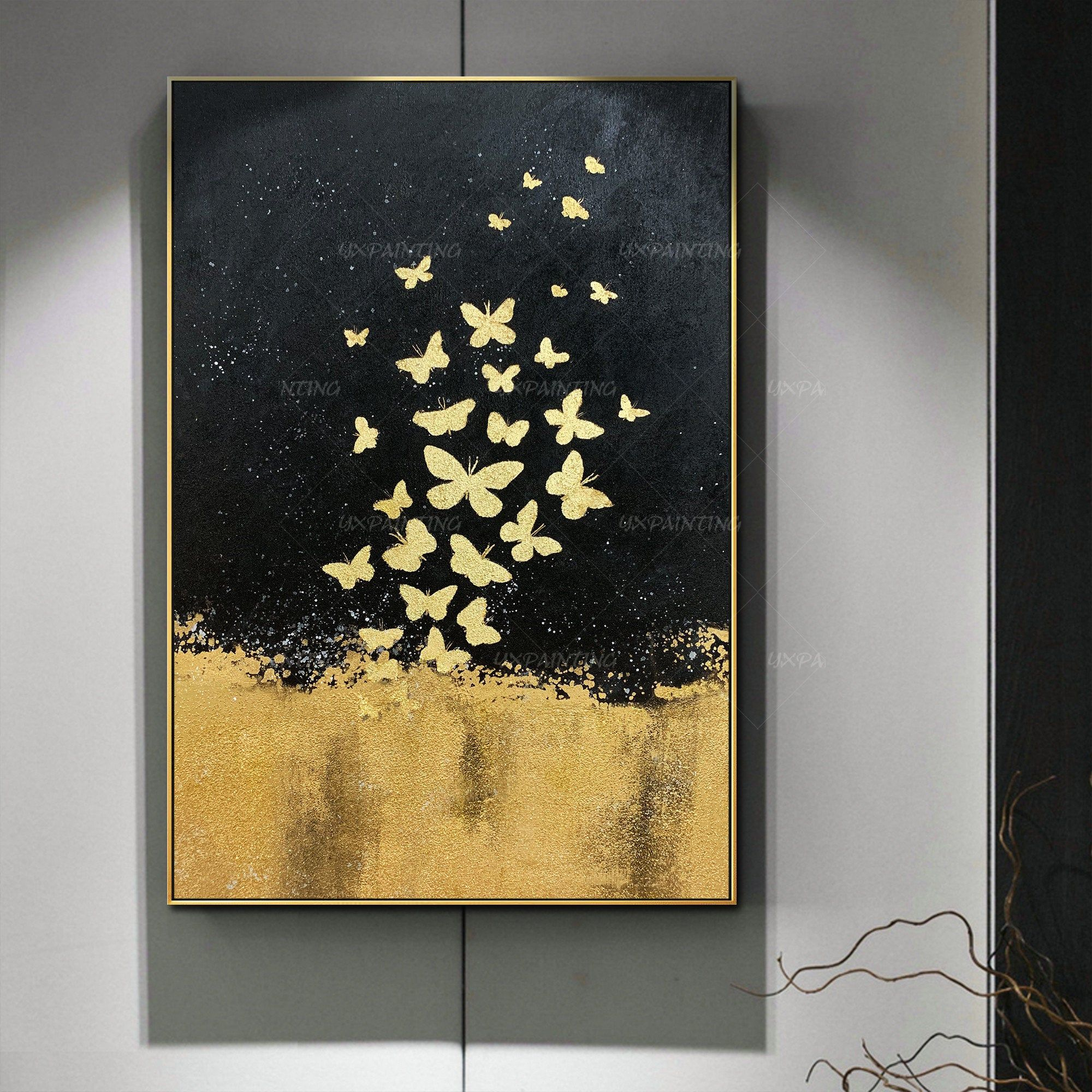 Gold Leaf And Silver Leaf Set Of 2 Wall Art Abstract Butterfly Etsy In 2021 Butterfly Painting Canvas Painting Christmas Paintings On Canvas