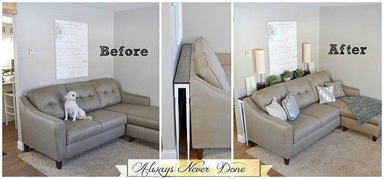 No Room For A Coffee Table Try This Brilliant Hack Diy Sofa Table Home Living Room Behind Sofa Table