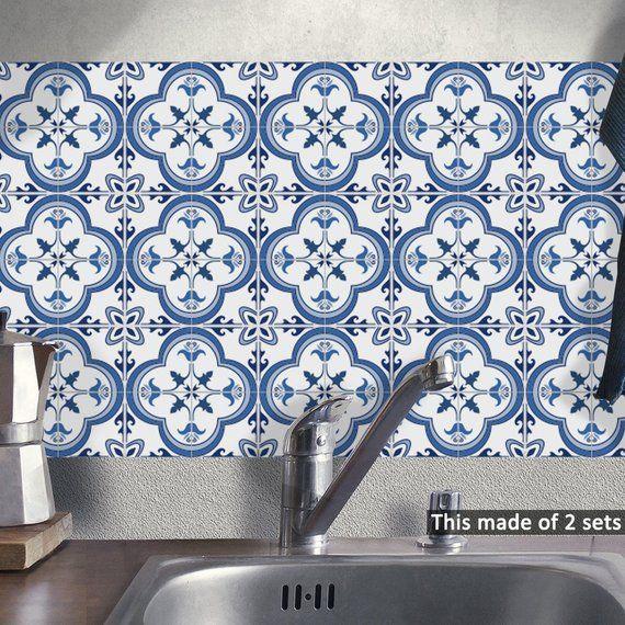 Blue Grey Mediterranean Geometry Tile Stickers 15 15cm 20 20cm Diy Pvc Waterproof Self Adhesive Ki Bathroom Tile Stickers Tiles Blue Grey