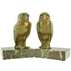A pair of Art Deco bronze owl bookends by G. Lavroff