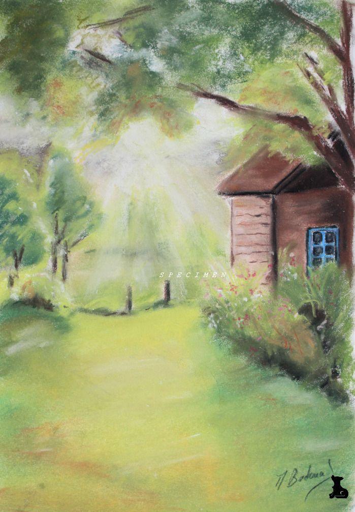 Dessin paysage jardin au pastel sec peintures par - Dessiner un paysage ...