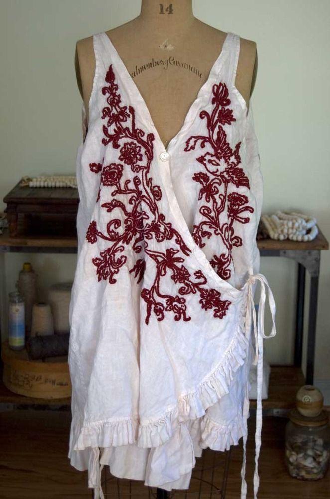 Magnolia Pearl Embroidered Linen Artist Apron Dress