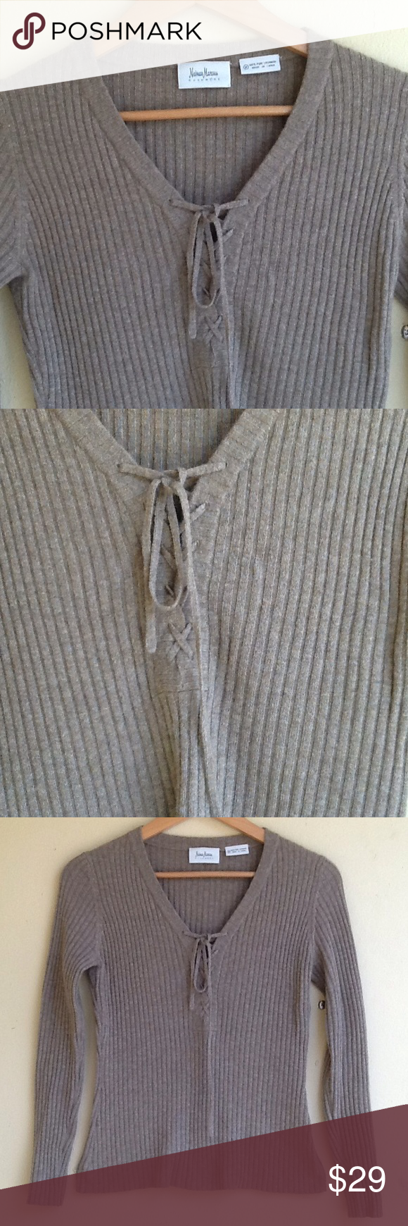 Cashmere sweater by Neiman Marcus 100% cashmere tie front sweater ...