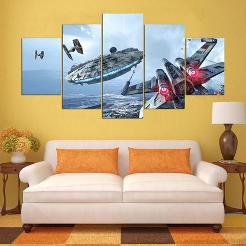 X Wing Falcon Star Wars 5 Panel Canvas Wall Art Print | Star Wars ...