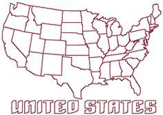 Redwork Continental United States Map Embroidery Design United - Map continental united states
