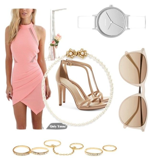 """Spring party #pastelpink"" by dreaotaku on Polyvore featuring Charlotte Russe, Skagen, Tory Burch, Witchery and Miriam Haskell"