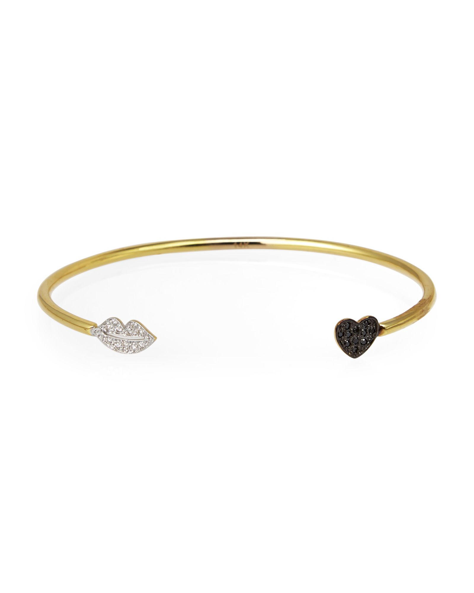 Kacey k gold lips u heart bracelet apparel u accessories