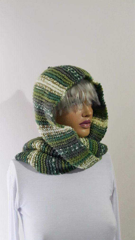 Christmas   GREEN  Knit Hat Hooded Scarves  Tassel by NesrinArt