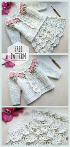 Photo of White Knitted Dress Set for Baby