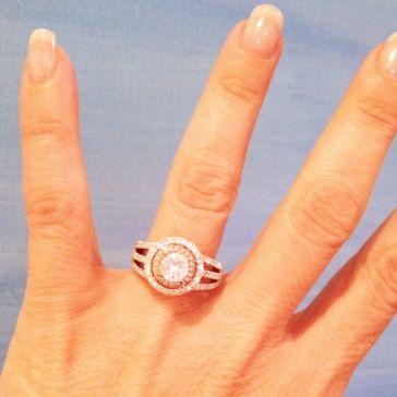 Rose & White Gold Double Halo Ring | Aston Royal