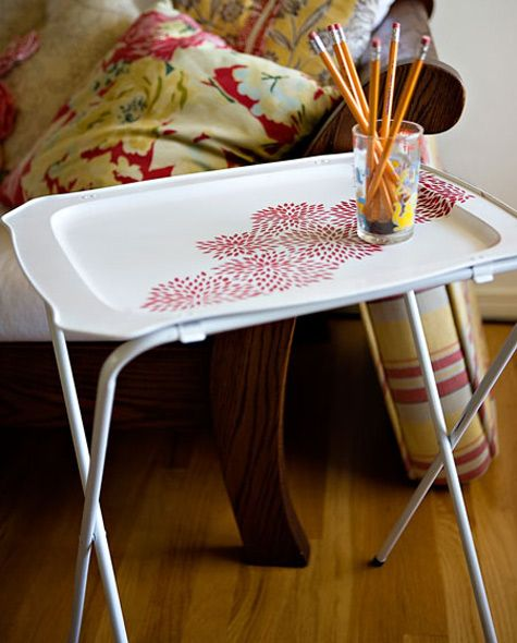 This Is Such A Classy Way To Re Vamp A Tray Table. No More Ugly TV Trays.  Grandma And Grandpau0027s TV Trays?