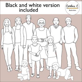 Family Members Clip Art By Caroline C Illustration Tpt Clip Art Black And White Illustration Family Images