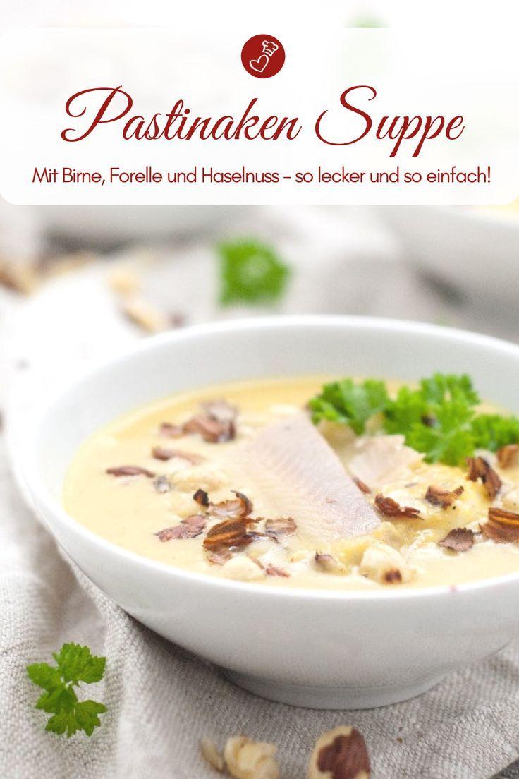 Pastinakensuppe mit Birne, Forelle und Haselnuss – Rezept #fishmeal