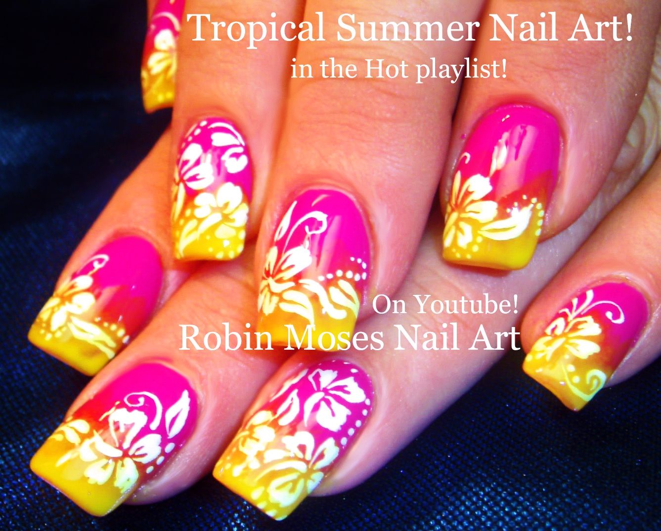 Robin Moses Nail Art: Summer color fun! Neon Pink and yellow ombre ...
