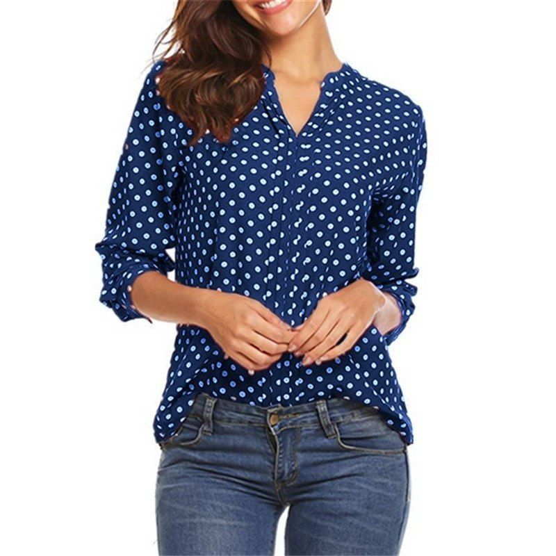 7aea868c3b6 5XL Plus Size Polka Dot Print Blouses Women V-Neck Long-Sleeved Vintage Tops  Summer 2019 Ladies Casual Loose... original price( ) 14 sale price( )  See  buy ...
