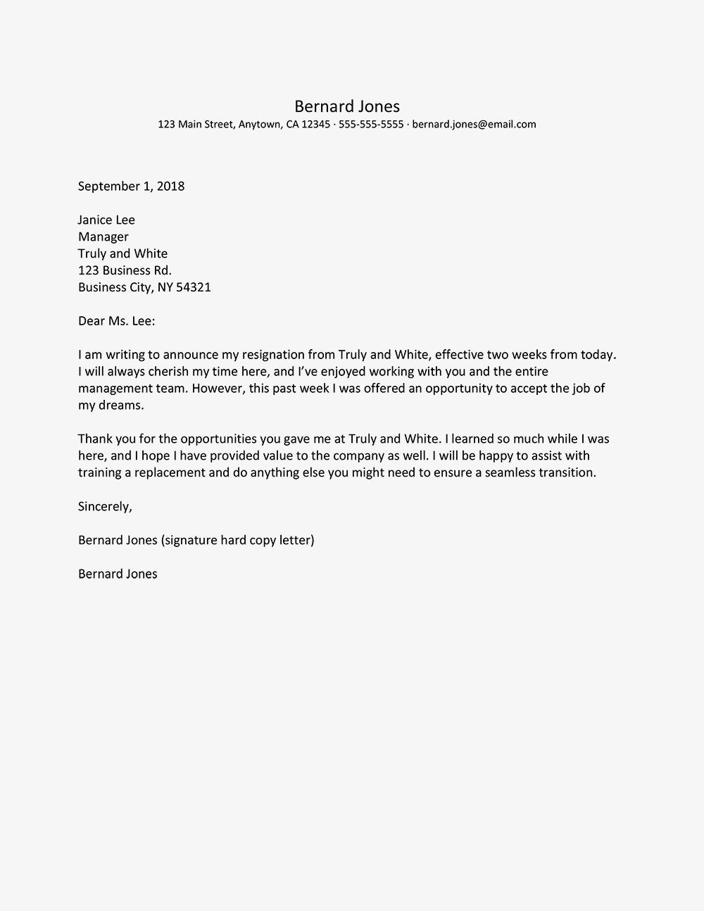 new sample letter of resignation free s     letterbuis
