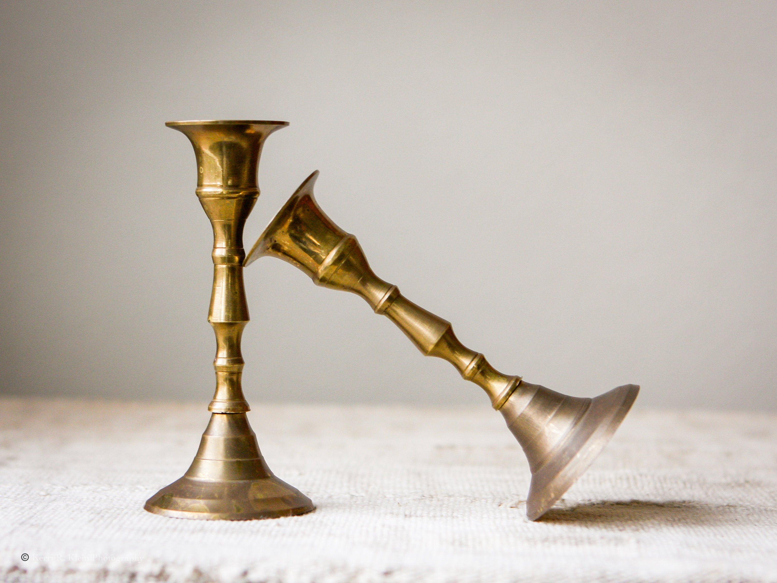 Mini Vintage Turned Brass Candlestick Holders Set Of 2 Made In