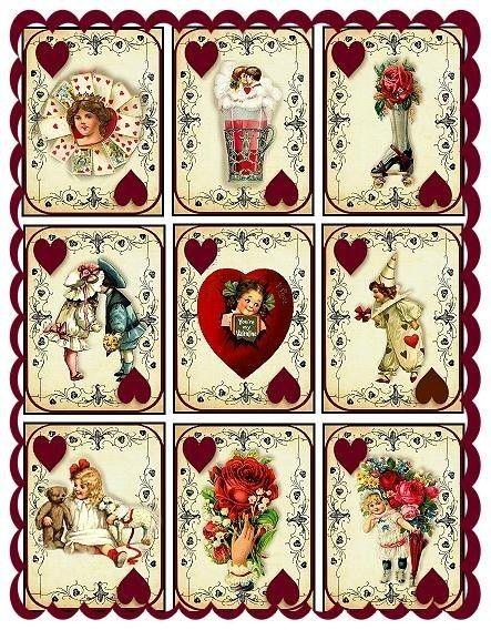 Altered Art Vintage Valentine Playing Card por SenecaPondCrafts
