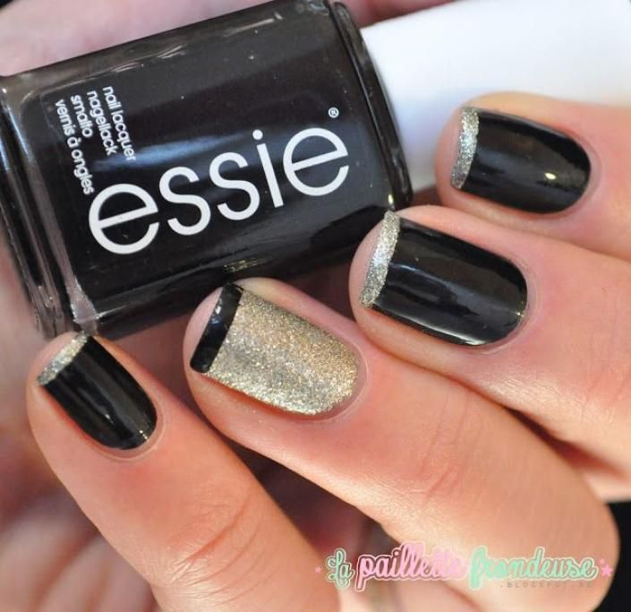 Ring In 2014 With This New Year\'s Eve Nail Art   Glitter french ...