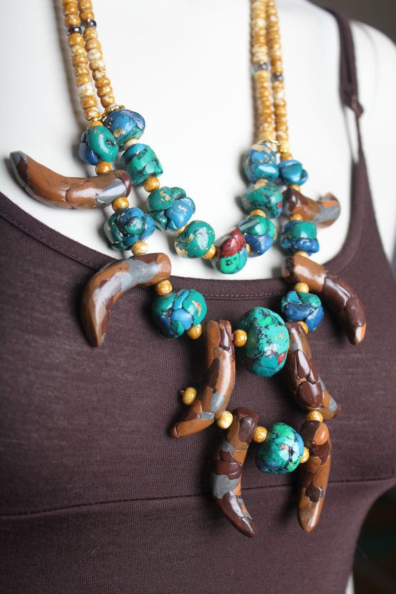 Turquoise Tribal Necklace /  Marble Stone Statement / Animal Nature / Anthropologie Inspired on Etsy, $79.00