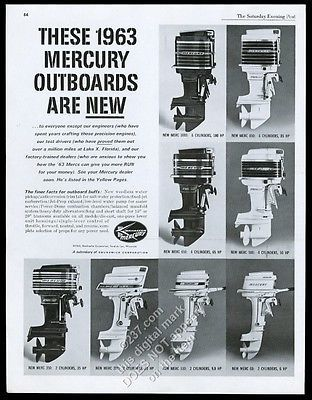 1963 mercury outboard boat motor 8 models photo vintage print ad for rh pinterest com Mercury 2 Stroke Parts Mercury Motors