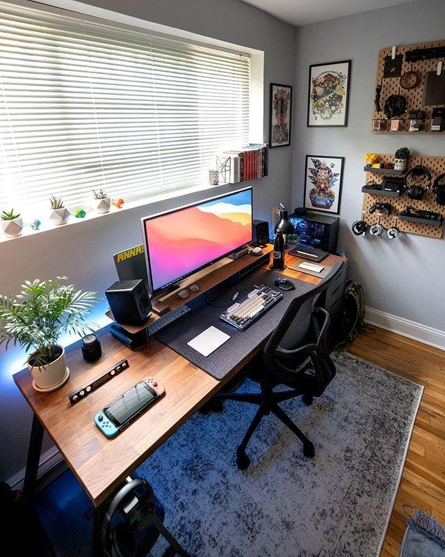 Awesome Setup In 2020 Home Office Setup Bedroom Setup Modern Home Office Furniture