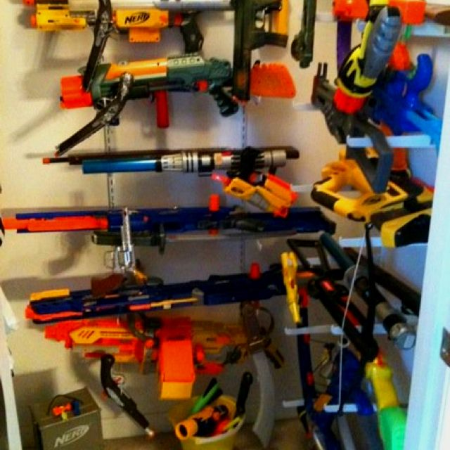 Nerf Gun Armory In My Son S Closet Using Wall Shelf Hardware Minus