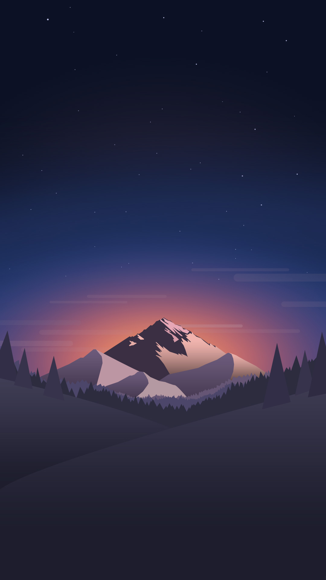 Mountain in night. Tap for landscape in material design