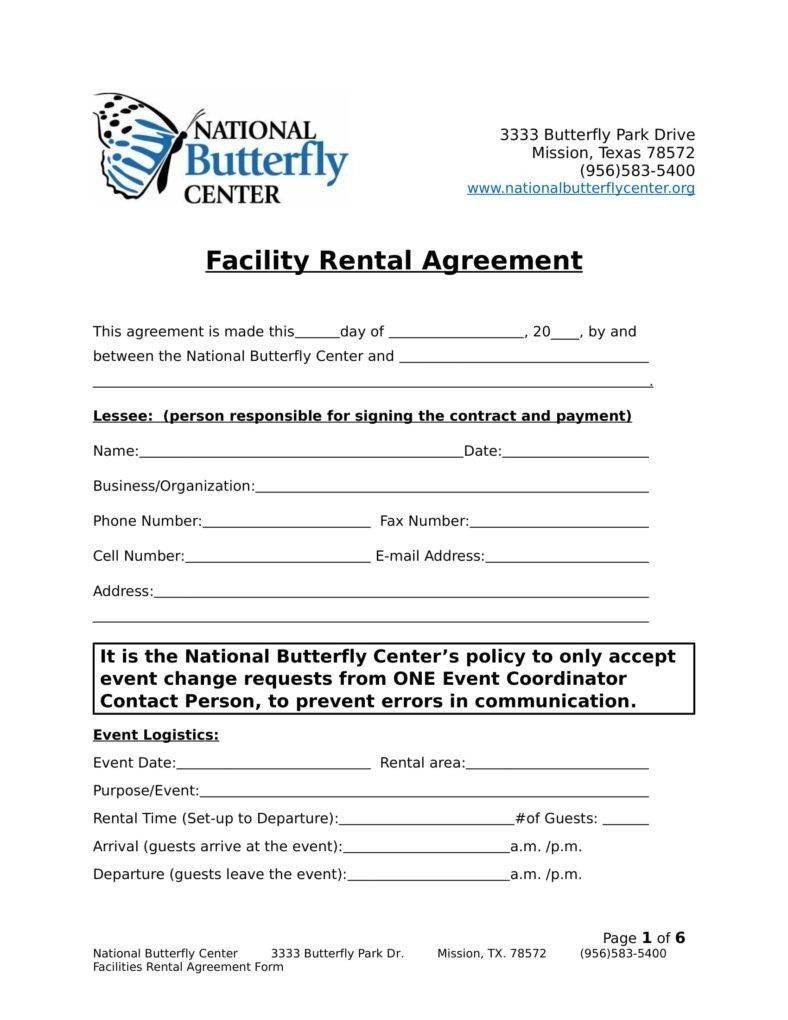 28 Facility Rental Contract Template in 2020 (With images