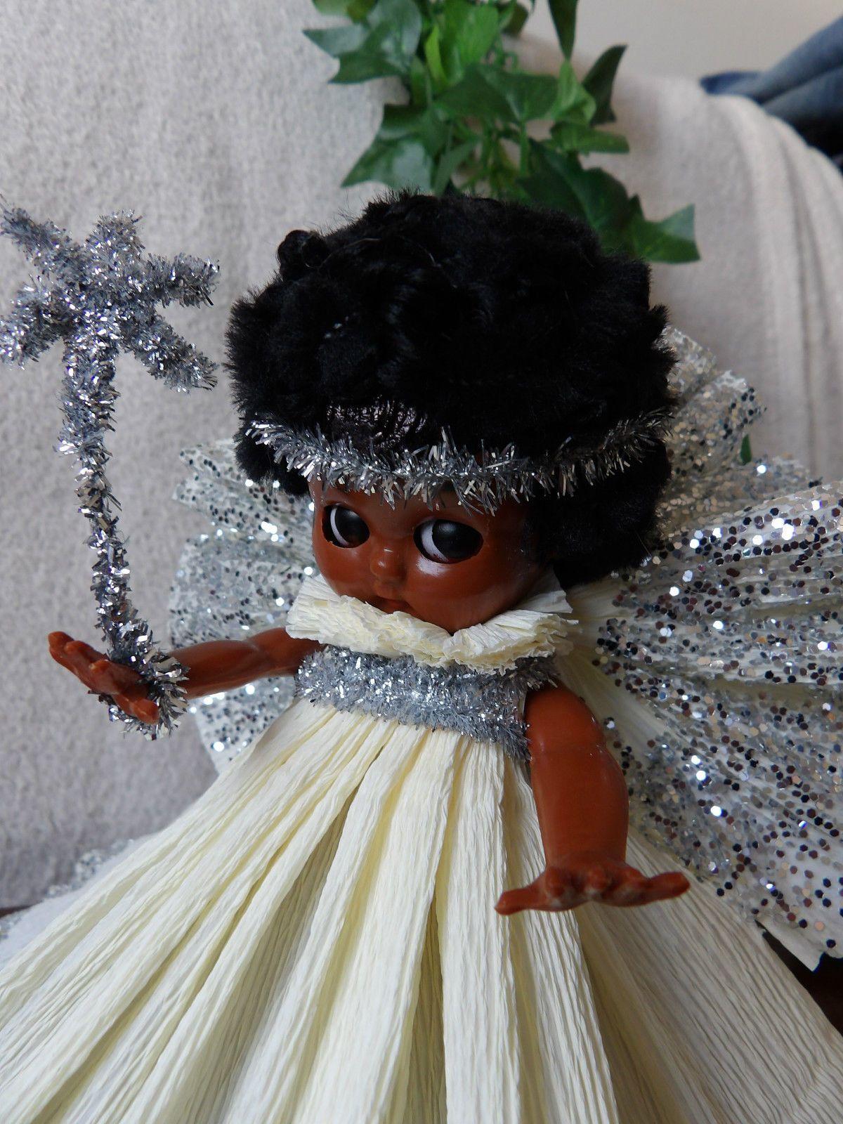 VINTAGE BLACK BABY DOLL CHRISTMAS TREE FAIRY / ANGEL