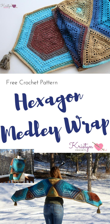 Hexagon Medley Crochet Wrap | Ponchos, Gótico y El amor